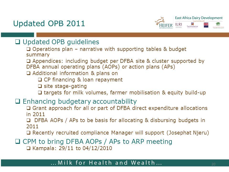 20 Updated OPB 2011 Updated OPB guidelines Operations plan – narrative with supporting tables & budget summary Appendices: including budget per DFBA s