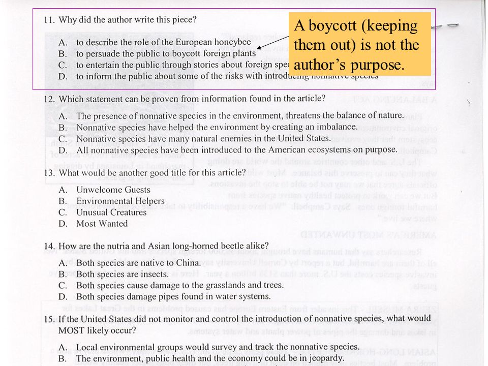 A boycott (keeping them out) is not the authors purpose.