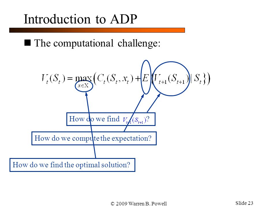 © 2009 Warren B. Powell Slide 23 Introduction to ADP The computational challenge: How do we find .