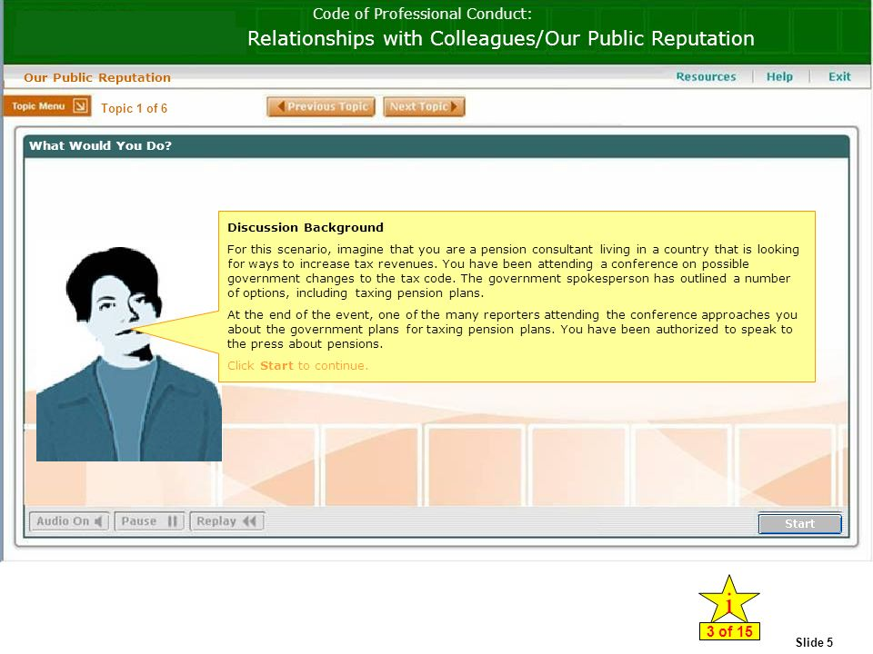 Slide 5 Code of Professional Conduct: Relationships with Colleagues/Our Public Reputation Our Public Reputation Discussion Background For this scenario, imagine that you are a pension consultant living in a country that is looking for ways to increase tax revenues.