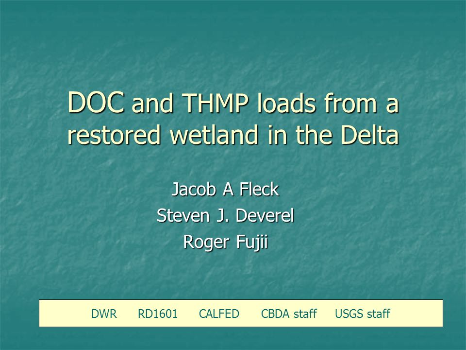 DOC and THMP loads from a restored wetland in the Delta DWR RD1601 CALFED CBDA staff USGS staff Jacob A Fleck Steven J.