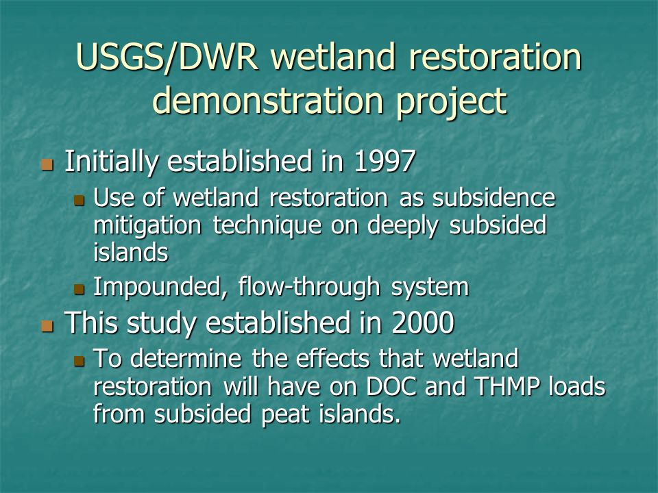 USGS/DWR wetland restoration demonstration project Initially established in 1997 Initially established in 1997 Use of wetland restoration as subsidence mitigation technique on deeply subsided islands Use of wetland restoration as subsidence mitigation technique on deeply subsided islands Impounded, flow-through system Impounded, flow-through system This study established in 2000 This study established in 2000 To determine the effects that wetland restoration will have on DOC and THMP loads from subsided peat islands.