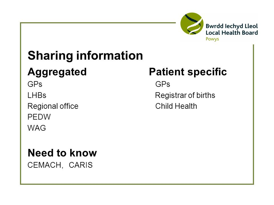 Sharing information Aggregated Patient specific GPs LHBs Registrar of births Regional office Child Health PEDW WAG Need to know CEMACH, CARIS