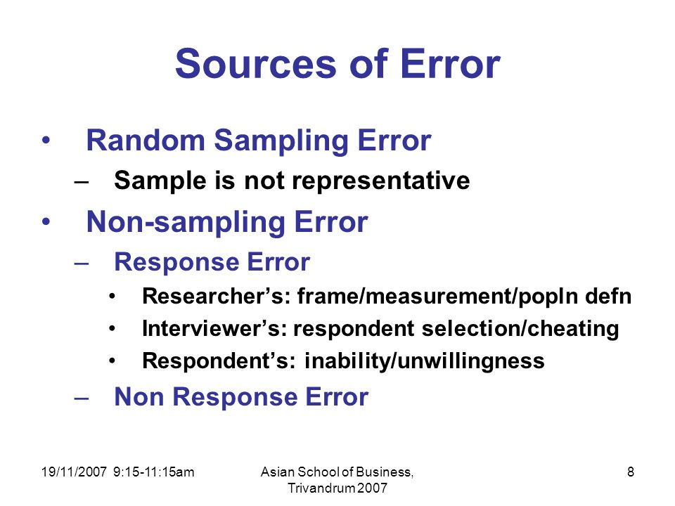 19/11/2007 9:15-11:15amAsian School of Business, Trivandrum 2007 8 Sources of Error Random Sampling Error –Sample is not representative Non-sampling Error –Response Error Researchers: frame/measurement/popln defn Interviewers: respondent selection/cheating Respondents: inability/unwillingness –Non Response Error