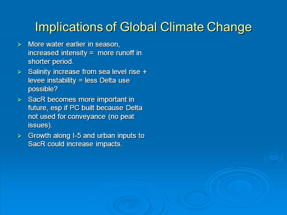 Implications of Global Climate Change More water earlier in season, increased intensity = more runoff in shorter period. More water earlier in season,