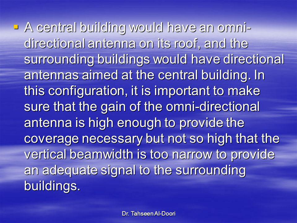 Dr. Tahseen Al-Doori A central building would have an omni- directional antenna on its roof, and the surrounding buildings would have directional ante