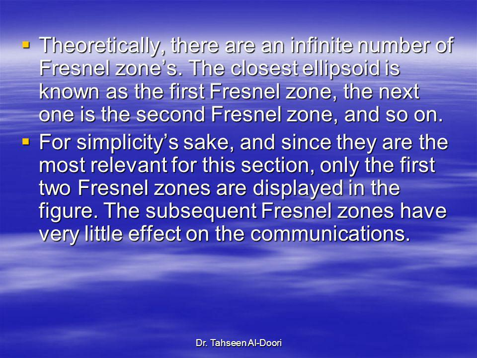 Dr. Tahseen Al-Doori Theoretically, there are an infinite number of Fresnel zones. The closest ellipsoid is known as the first Fresnel zone, the next