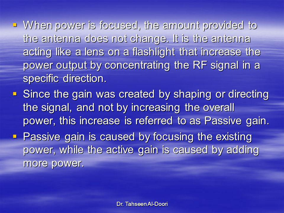 Dr. Tahseen Al-Doori When power is focused, the amount provided to the antenna does not change. It is the antenna acting like a lens on a flashlight t