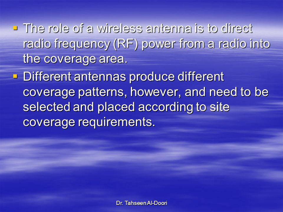Dr. Tahseen Al-Doori The role of a wireless antenna is to direct radio frequency (RF) power from a radio into the coverage area. The role of a wireles