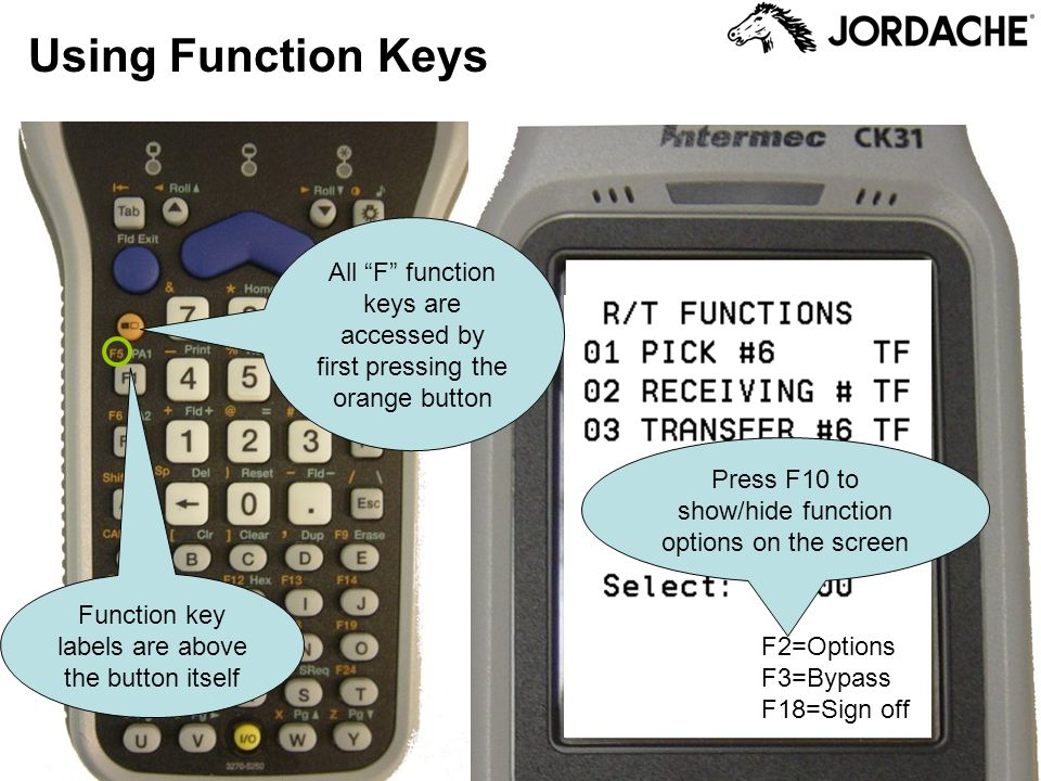 All F function keys are accessed by first pressing the orange button Press F10 to show/hide function options on the screen Using Function Keys Functio