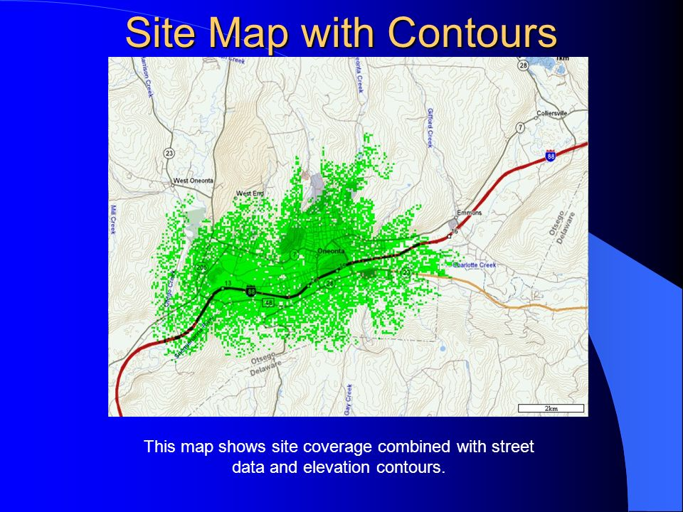 Site Map with Contours This map shows site coverage combined with street data and elevation contours.