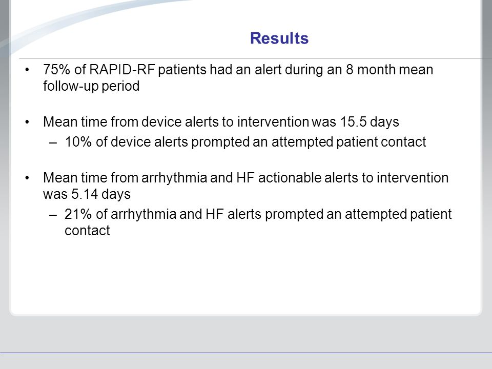Results 75% of RAPID-RF patients had an alert during an 8 month mean follow-up period Mean time from device alerts to intervention was 15.5 days –10%