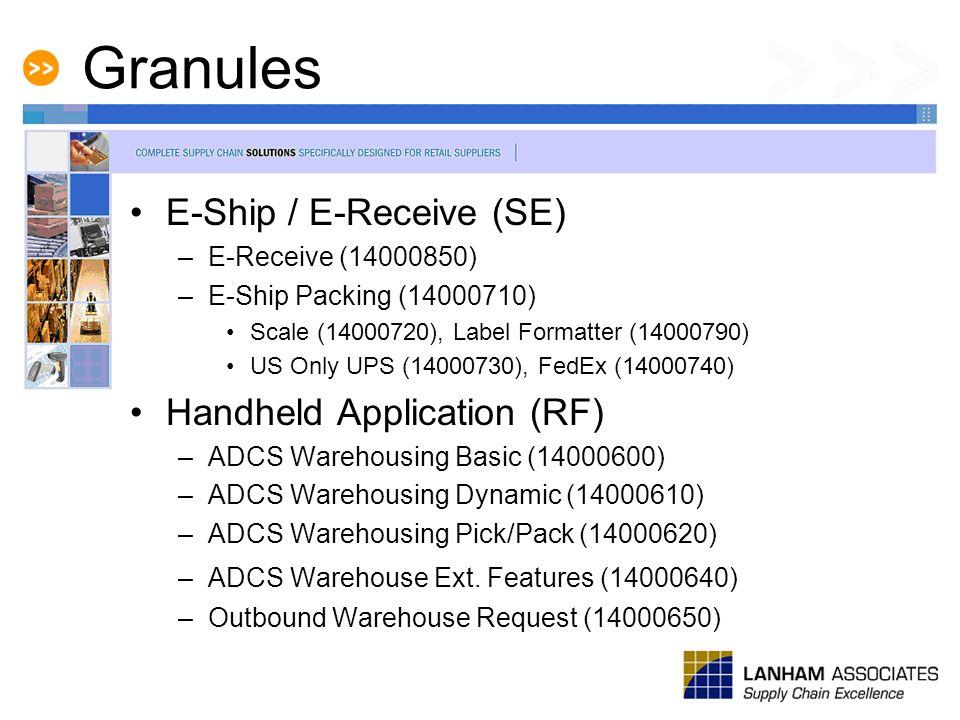 Granules E-Ship / E-Receive (SE) –E-Receive (14000850) –E-Ship Packing (14000710) Scale (14000720), Label Formatter (14000790) US Only UPS (14000730),