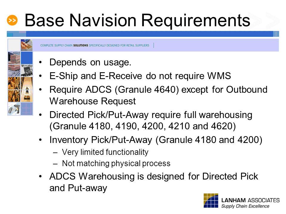 Base Navision Requirements Depends on usage. E-Ship and E-Receive do not require WMS Require ADCS (Granule 4640) except for Outbound Warehouse Request