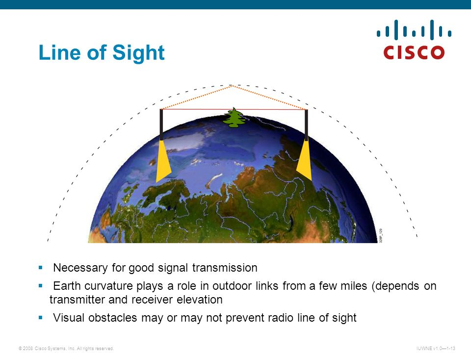 © 2008 Cisco Systems, Inc. All rights reserved.IUWNE v1.01-13 Necessary for good signal transmission Earth curvature plays a role in outdoor links fro