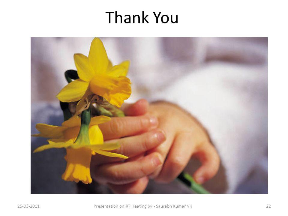 Thank You 25-03-2011Presentation on RF Heating by - Saurabh Kumar Vij22