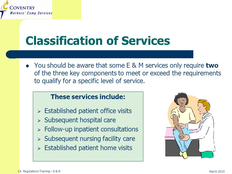 CA Regulations Training – E & M March 2010 Classification of Services You should be aware that some E & M services only require two of the three key c