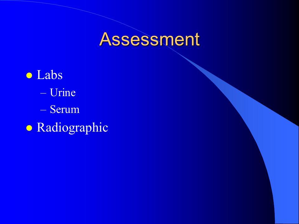 Assessment l Labs –Urine –Serum l Radiographic