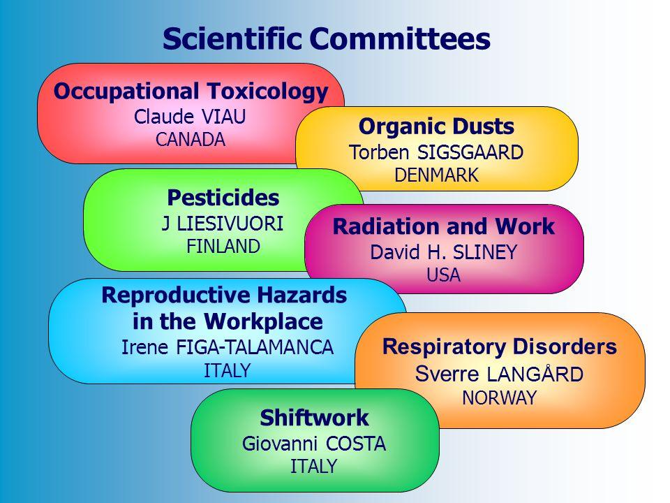 Occupational Toxicology Claude VIAU CANADA Organic Dusts Torben SIGSGAARD DENMARK Pesticides J LIESIVUORI FINLAND Radiation and Work David H. SLINEY U
