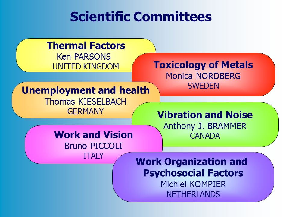 Thermal Factors Ken PARSONS UNITED KINGDOM Toxicology of Metals Monica NORDBERG SWEDEN Unemployment and health Thomas KIESELBACH GERMANY Vibration and