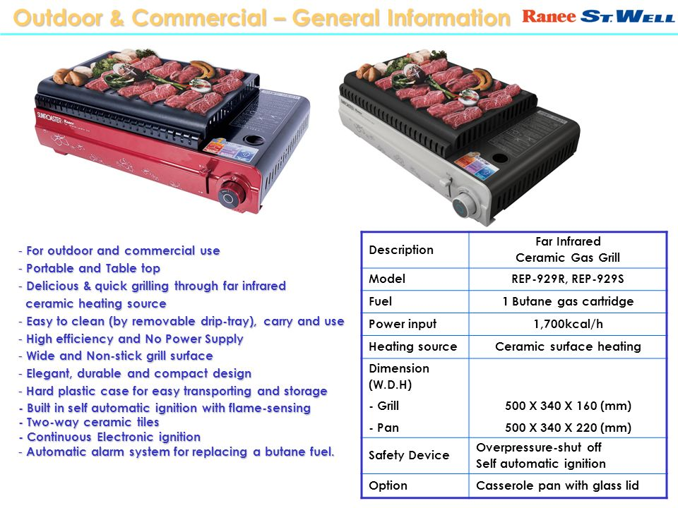 Outdoor & Commercial – General Information Description Far Infrared Ceramic Gas Grill ModelREP-929R, REP-929S Fuel1 Butane gas cartridge Power input1,