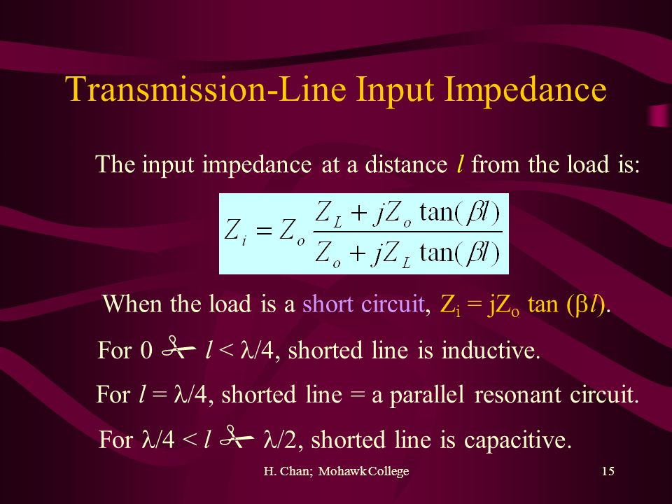 H. Chan; Mohawk College15 Transmission-Line Input Impedance The input impedance at a distance l from the load is: When the load is a short circuit, Z