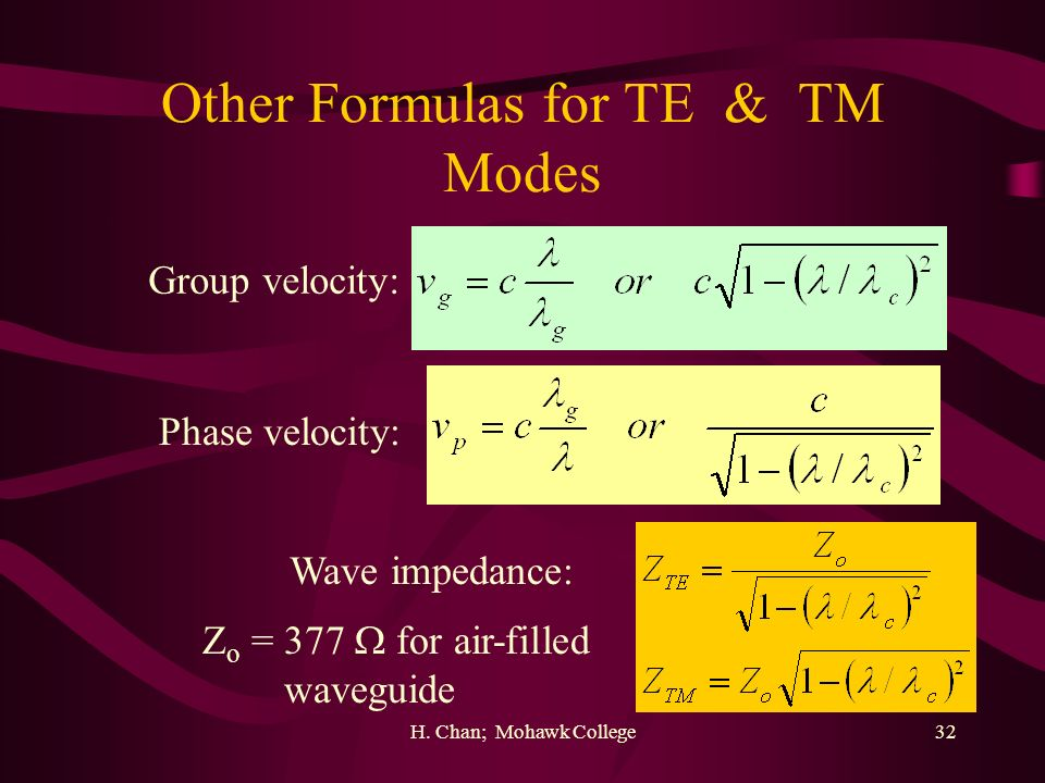 H. Chan; Mohawk College32 Other Formulas for TE & TM Modes Group velocity: Phase velocity: Wave impedance: Z o = 377 for air-filled waveguide