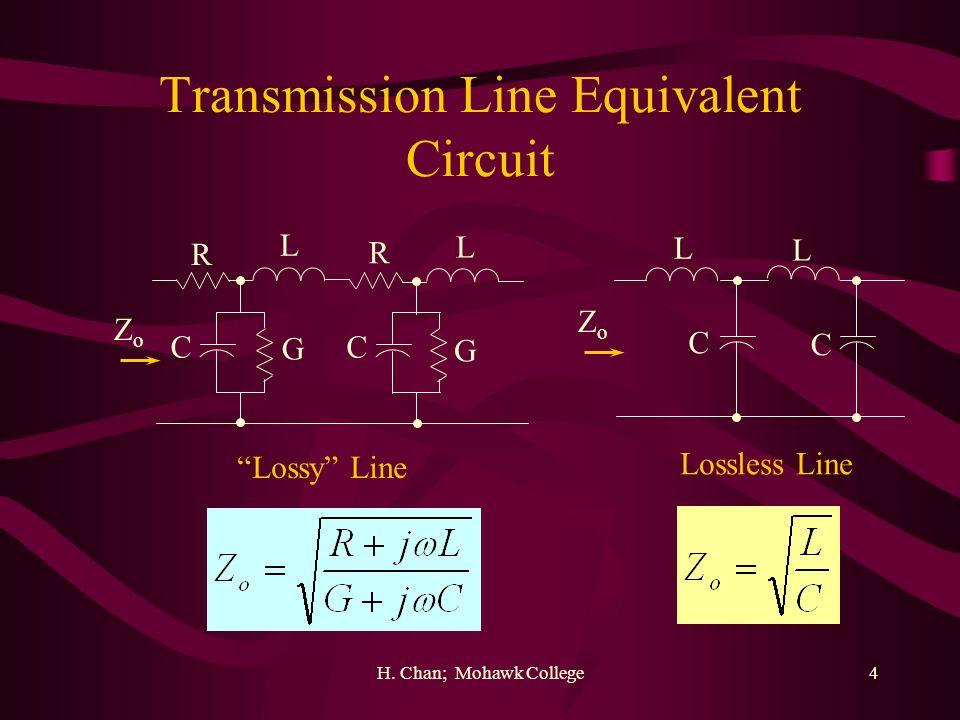 H. Chan; Mohawk College4 Transmission Line Equivalent Circuit R L R L C G C G L L C C Lossy Line Lossless Line ZoZo ZoZo