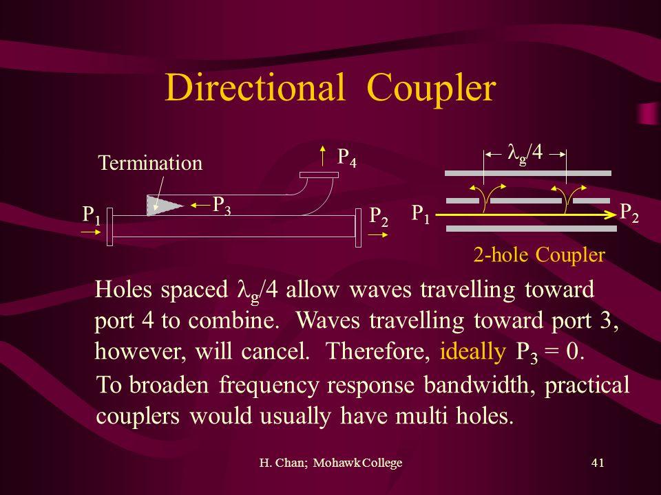 H. Chan; Mohawk College41 Directional Coupler P1P1 P2P2 P4P4 Termination g /4 P3P3 2-hole Coupler Holes spaced g /4 allow waves travelling toward port