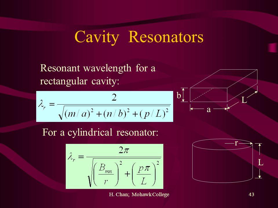 H. Chan; Mohawk College43 Cavity Resonators a b L Resonant wavelength for a rectangular cavity: L r For a cylindrical resonator: