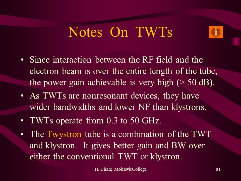 H. Chan; Mohawk College81 Notes On TWTs Since interaction between the RF field and the electron beam is over the entire length of the tube, the power