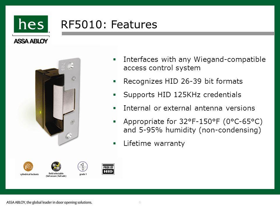 7 RF5010: Features Frame Applications Steel Aluminium Wood