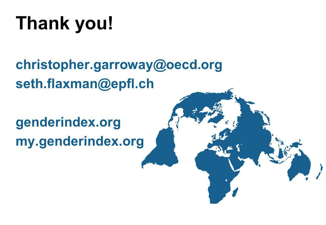 Thank you! christopher.garroway@oecd.org seth.flaxman@epfl.ch genderindex.org my.genderindex.org