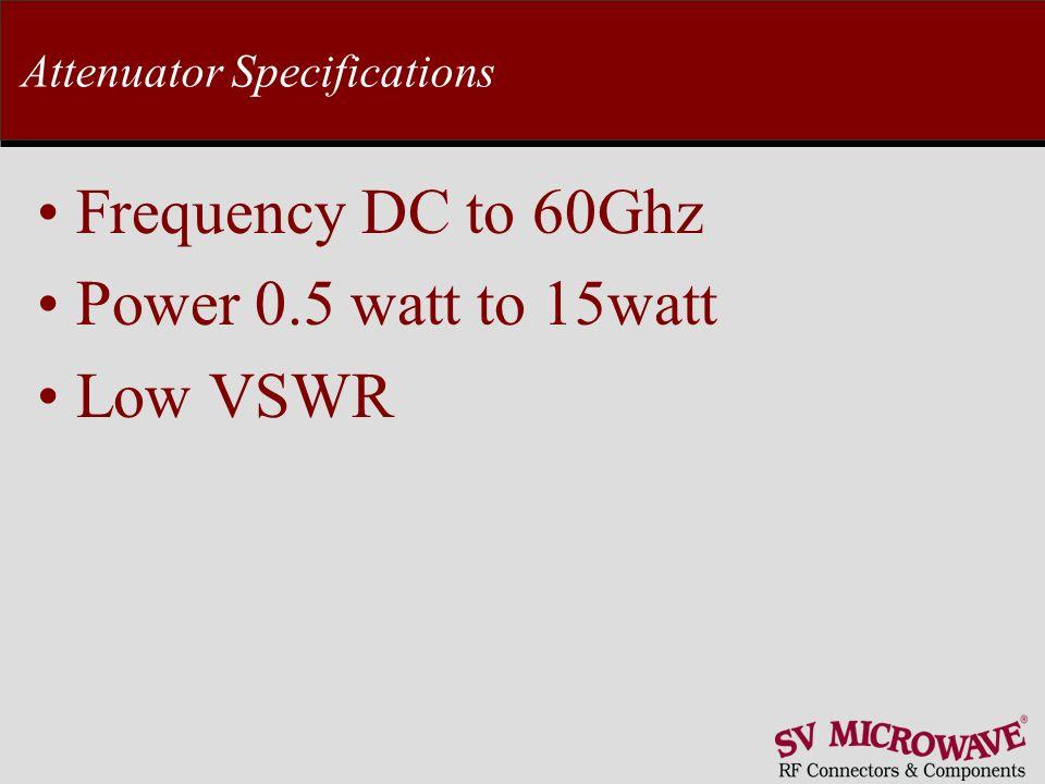 Attenuator Specifications Frequency DC to 60Ghz Power 0.5 watt to 15watt Low VSWR