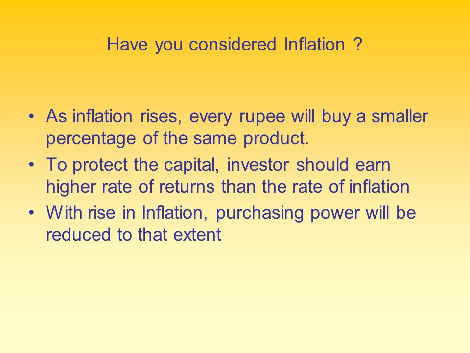 Have you considered Inflation .