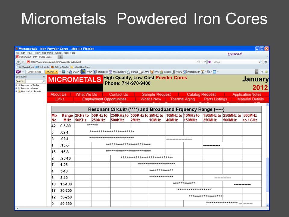 Micrometals Powdered Iron Cores