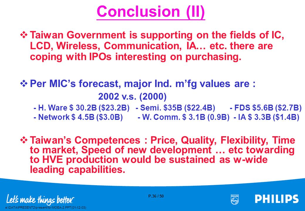 e:\DATA\PRESENT2\present for MOEA-2.PPT(01-12-03) P.35 / 50 Conclusion (I) Est. USD 7 ~ 12B / year being increased of Global IPOs buying from Taiwan.