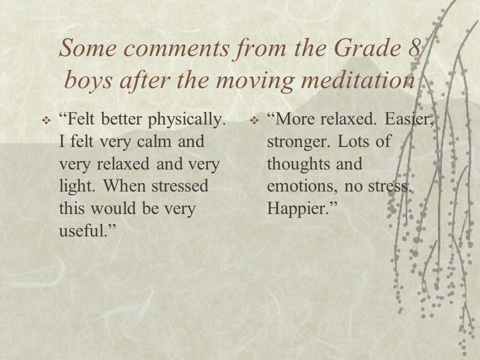 Some comments from the Grade 8 boys after the moving meditation Felt better physically. I felt very calm and very relaxed and very light. When stresse