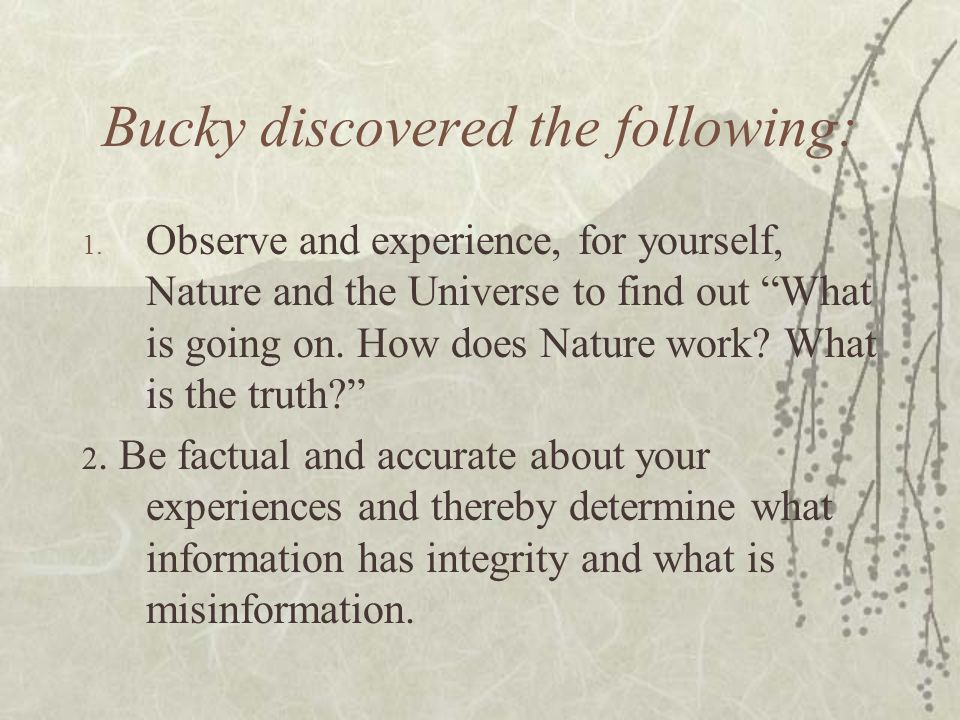 Bucky discovered the following: 1. Observe and experience, for yourself, Nature and the Universe to find out What is going on. How does Nature work? W
