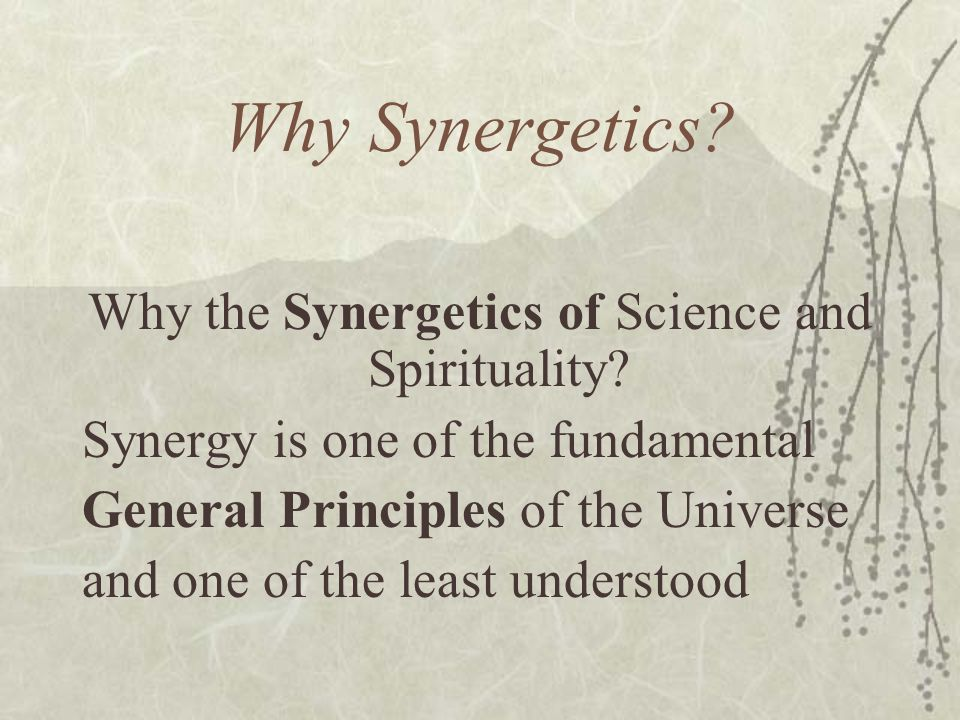 Why Synergetics? Why the Synergetics of Science and Spirituality? Synergy is one of the fundamental General Principles of the Universe and one of the