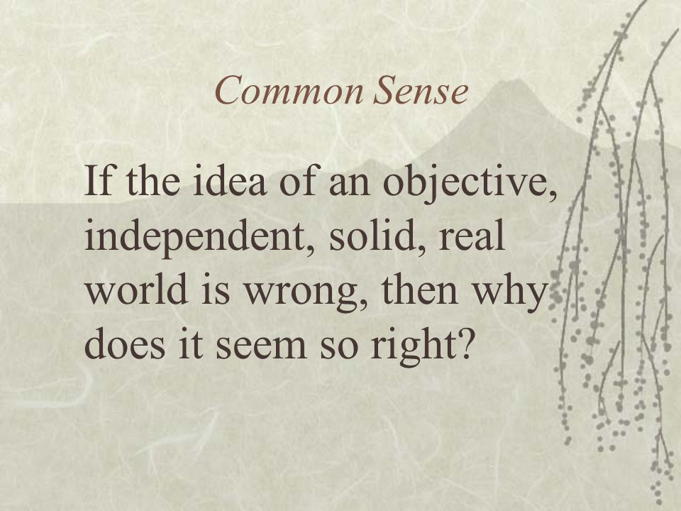 Common Sense If the idea of an objective, independent, solid, real world is wrong, then why does it seem so right?