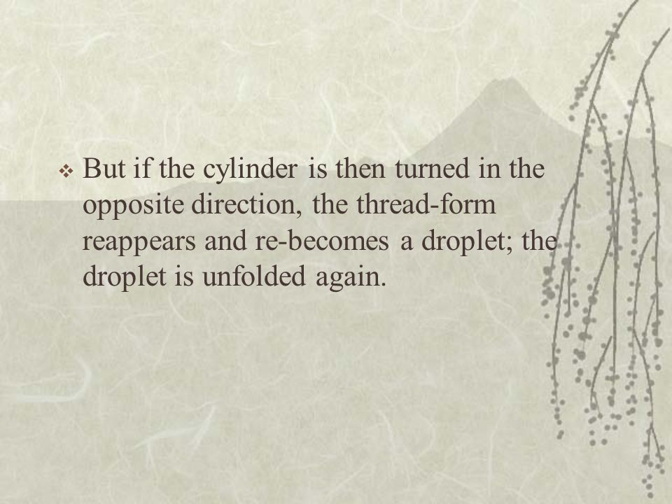 But if the cylinder is then turned in the opposite direction, the thread-form reappears and re-becomes a droplet; the droplet is unfolded again.