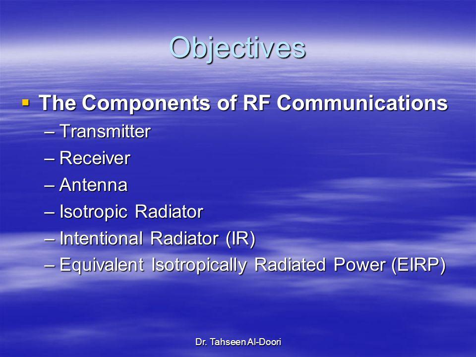 Dr. Tahseen Al-Doori Objectives The Components of RF Communications The Components of RF Communications –Transmitter –Receiver –Antenna –Isotropic Rad