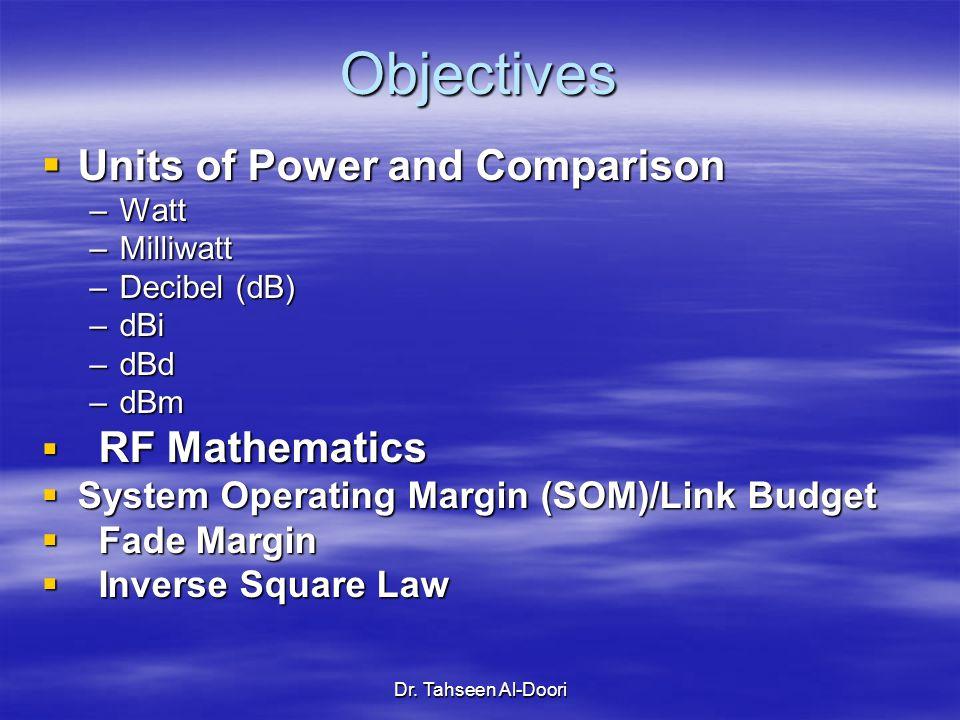 Dr. Tahseen Al-Doori Objectives Units of Power and Comparison Units of Power and Comparison –Watt –Milliwatt –Decibel (dB) –dBi –dBd –dBm RF Mathemati