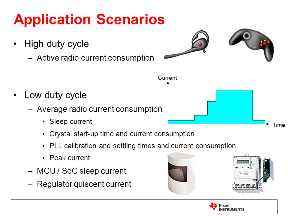 Application Scenarios High duty cycle –Active radio current consumption Low duty cycle –Average radio current consumption Sleep current Crystal start-up time and current consumption PLL calibration and settling times and current consumption Peak current –MCU / SoC sleep current –Regulator quiscent current Current Time