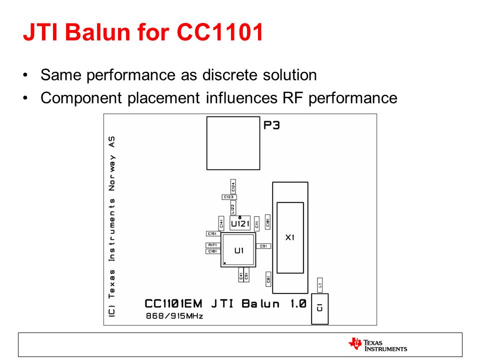 JTI Balun for CC1101 Same performance as discrete solution Component placement influences RF performance