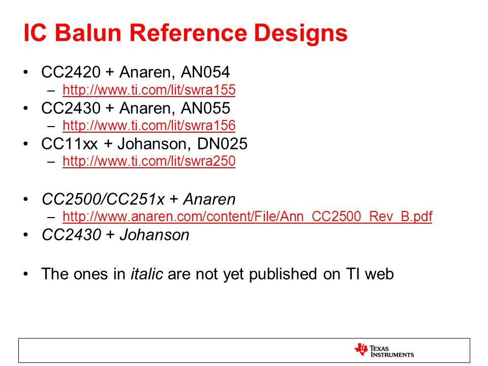 IC Balun Reference Designs CC2420 + Anaren, AN054 –http://www.ti.com/lit/swra155http://www.ti.com/lit/swra155 CC2430 + Anaren, AN055 –http://www.ti.co