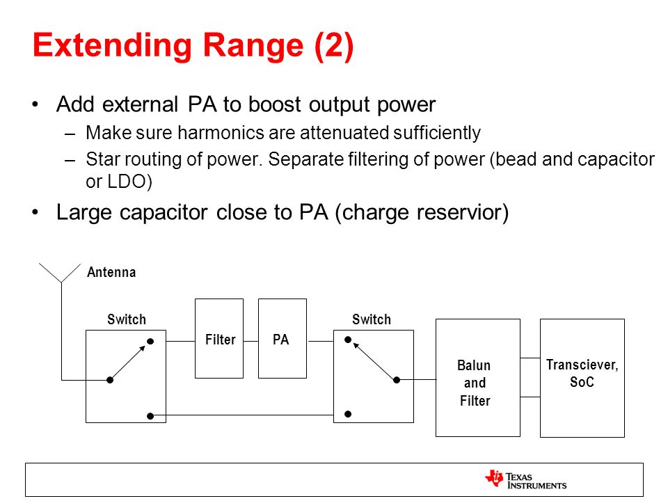 Extending Range (2) Add external PA to boost output power –Make sure harmonics are attenuated sufficiently –Star routing of power.