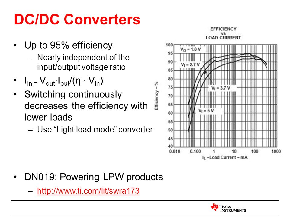 DC/DC Converters Up to 95% efficiency –Nearly independent of the input/output voltage ratio I in = V out I out /(η V in ) Switching continuously decre