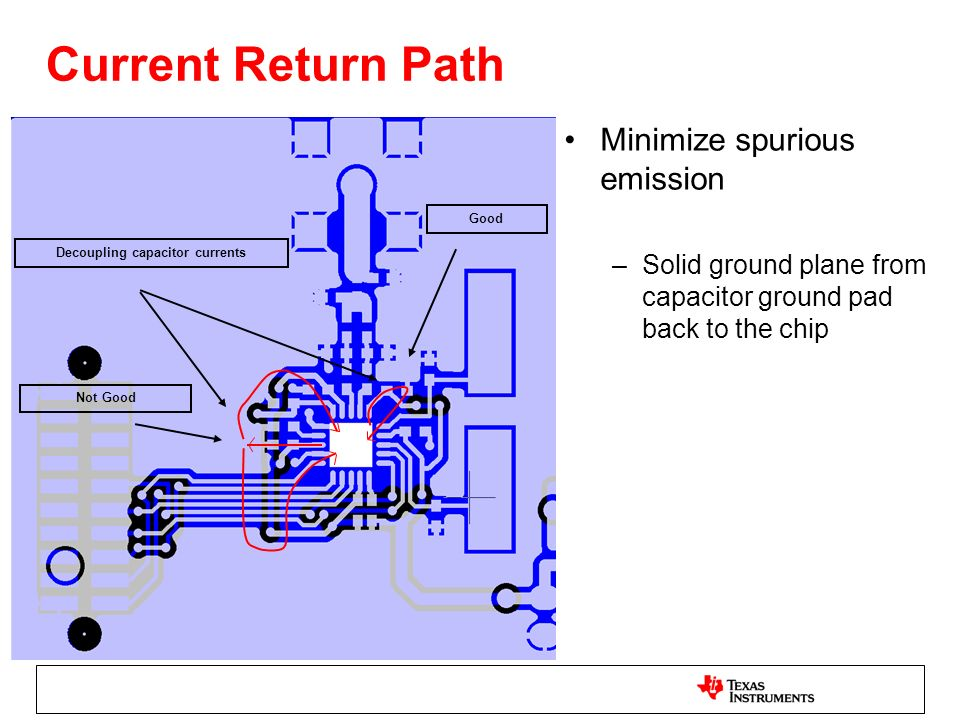 Current Return Path Decoupling capacitor currents Good Not Good Minimize spurious emission –Solid ground plane from capacitor ground pad back to the c